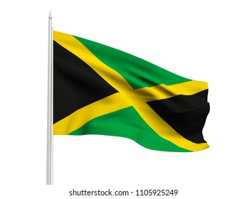 Jamaica flag floating in the wind with a White sky background. 3D illustration.