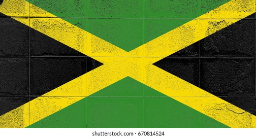 Jamaica flag grunge background. Background for design in country flag