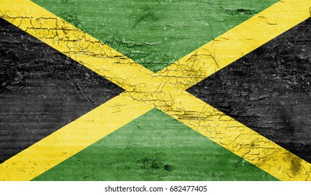 Jamaica flag with grunge texture background.