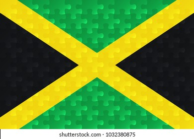 Jamaica flag jigsaw puzzles illustration.