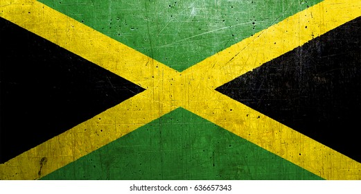 Jamaica flag with an old, vintage metal texture