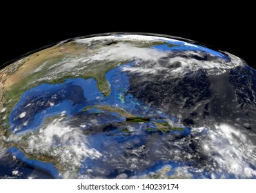 Jamaica flag on pole on earth globe illustration - Elements of this image furnished by NASA