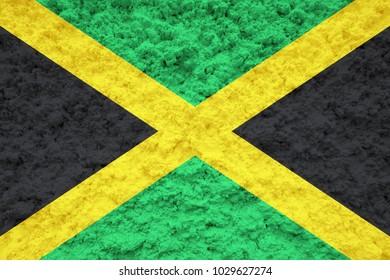 Jamaica flag on the wall illustration