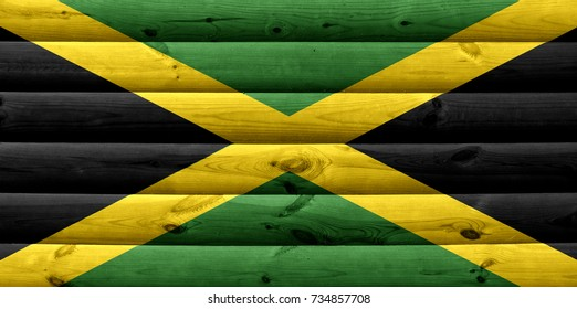 Jamaica flag on wood texture background
