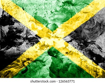 Jamaica flag  painted dirty and grungy paper