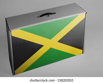 Jamaica flag  painted on carton box