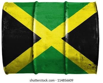 The Jamaica flag painted on oil barrel