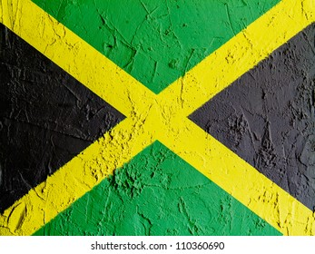 The Jamaica flag painted on wall