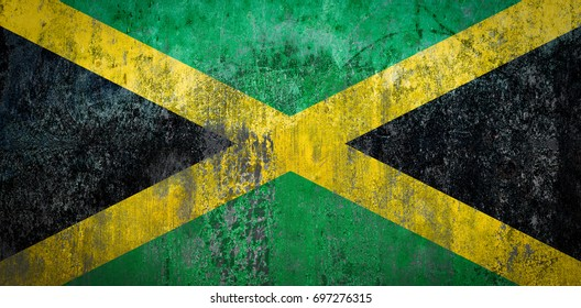 Jamaica Flag painted on a Wall