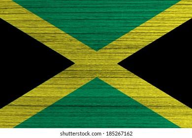 Jamaica Flag painted on wood background