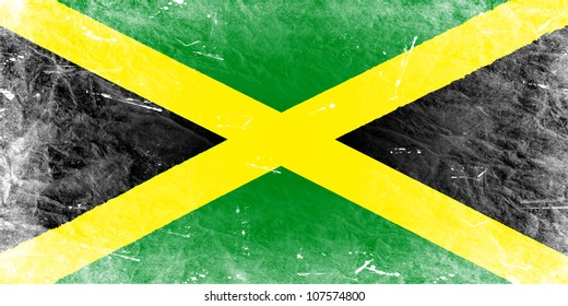 The Jamaica flag painted in vintage style