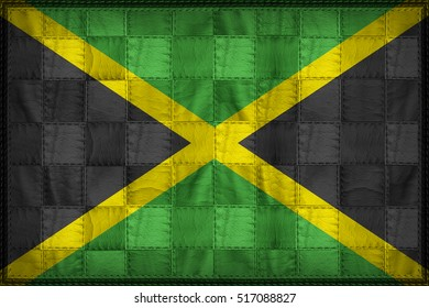 Jamaica flag pattern on synthetic leather texture, 3d illustration style