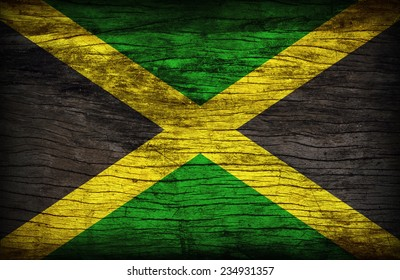 Jamaica flag pattern on wooden board texture ,retro vintage style