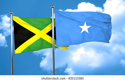 Jamaica flag with Somalia flag, 3D rendering