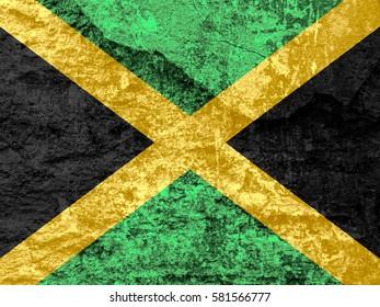 Jamaica flag stone texture background.