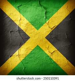 Jamaica flag and wall background