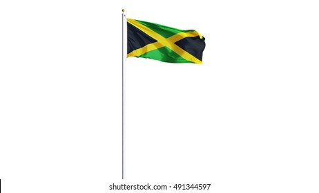 Jamaica flag waving on white background, long shot, isolated with clipping path mask alpha channel transparency