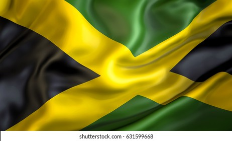Jamaica flag.3D Waving flag design.Black,green and yellow flag.Jamaica flag image color pictures download graphics hd wallpaper.The national symbol Jamaica.Jamaican National colors background