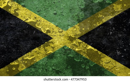 Jamaica grunge flag background illustration of country / flag of Jamaica with raindrops