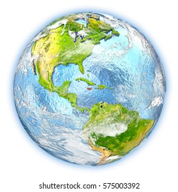 Jamaica highlighted in red on planet Earth. 3D illustration isolated on white background. Elements of this image furnished by NASA.