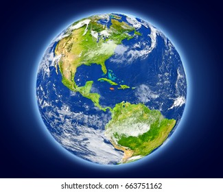 Jamaica highlighted in red on planet Earth. 3D illustration with detailed planet surface. Elements of this image furnished by NASA.