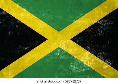 Jamaica - Jamaican Flag on Old Grunge Texture Background