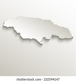 Jamaica map card paper 3D natural raster
