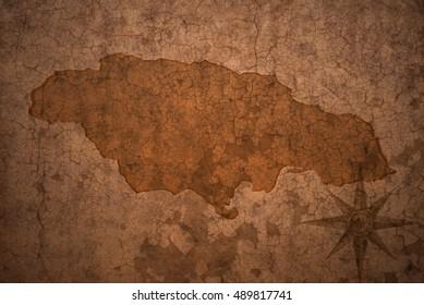 jamaica map on a old vintage crack paper background