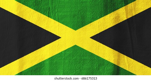 Jamaica national flag from fabric for graphic design.
