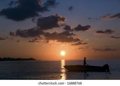 Jamaica Negril tropical vacation summer Caribean, ocean, seaside, boat, colorful, fishing, fishermen