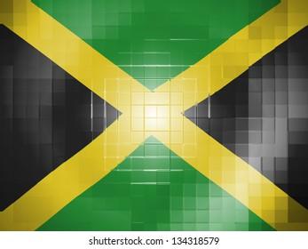 Jamaican flag on wavy plastic surface