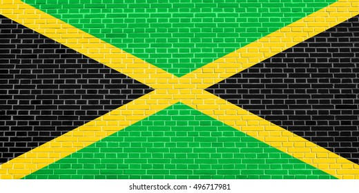 Jamaican national official flag. Patriotic symbol, banner, element, background. Flag of Jamaica on brick wall texture background