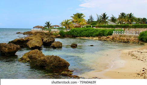 Jamaican Rocky Beach at the shores of Lucea, Jamaica.