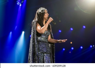 Jamala. Special guest in Eurovision song contest 2017. Dress rehearsal on the main stage of contest before the final performance. Kyiv, Ukraine. May 12, 2017