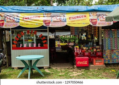 Jambi, Indonesia - January 27, 2018: Street food vendors or warung selling assorted snack and drinks inside of Candi Muara Jambi temple complex