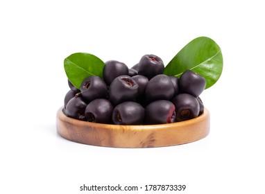 Jambolan plum or jambul or Jamun fruit, Java plum (Syzygium cumini) isolated on white background with clipping path