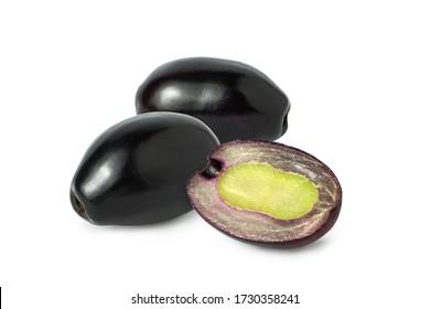 Jambolan plum, Java plum or Jambul fruits isolated on white background