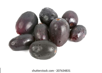 Jambul or Jamun (Syzygium cumini) isolated on white. In Ayurveda, Jambul is found very helpful for diabetic patients.