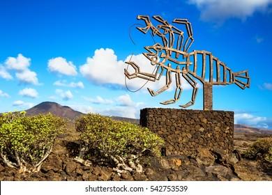JAMEOS DEL AQUA, LANZAROTE, SPAIN - SEPTEMBER 15, 2016: Jameos del Agua - The modern sculpture designed by Cesar Manrique, Lanzarote, Canary Island, Spain.