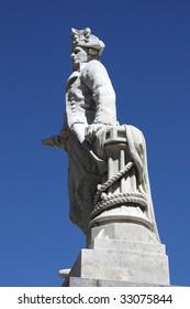 James Cook - British explorer, navigator and cartographer, captain of Royal Navy. Statue in Christchurch, New Zealand.
