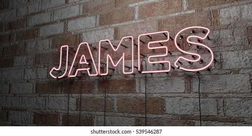 JAMES - Glowing Neon Sign on stonework wall - 3D rendered royalty free stock illustration.  Can be used for online banner ads and direct mailers.