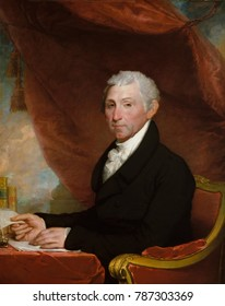 JAMES MONROE, by Gilbert Stuart, 1820-22, American painting, oil on canvas. The fifth President of the United States is depicted at a desk with books and papers, and red drapery