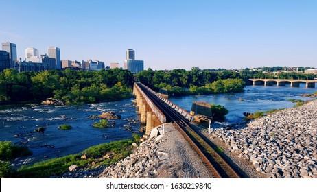 The James river in Richmond, Virginia
