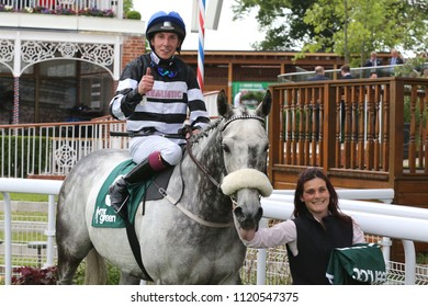 James Sullivan celebrates with thumbs up after Sovereign Debt had won the Listed Ganton Stakes at York Races : The Knavesmire, York Racecourse, Nth Yorkshire, UK : 15 June 2018 : Pic Mick Atkins