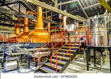 Jamesons Distillery, Cork, Ireland - July 6, 2019: Inner workings of the Jamesons Distillery outside of Cork Ireland