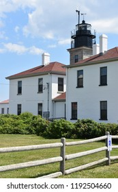 JAMESTOWN, RI - AUG 13: Beavertail Lighthouse in Jamestown, Rhode Island,  on Aug 13, 2017. was built in 1856 and is the premier lighthouse in Rhode Island, marking the entrance to Narragansett Bay.