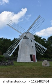 JAMESTOWN, RI - AUG 13: Windmill at Jamestown Historical Society in Jamestown, Rhode Island, as seen on Aug 13, 2017. It was built in 1787 and in operation until 1896.