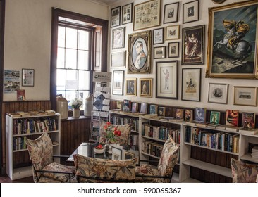 Jamestown, St Helena - April 2, 2015: The Consulate Hotel coffee shop in Jamestown, St Helena. On the walls, pictures of Napoleon.
