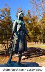 Jamestown, VA, USA March 27, 2014 A statue of Pocahontas graces the historic park in Jamestown, Virginia