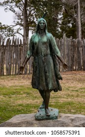 Jamestown, Virginia - March 27, 2018: Pocahontas Statue, by William Ordway Partridge, erected in 1922, representing Pocahontas